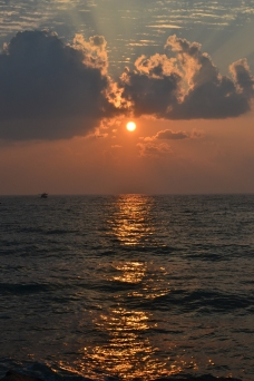 catching the sunrise over the sea. pondicherry, india. march 2016.