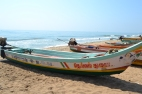 fishing boats taking a break. pondicherry, india. march 2016.