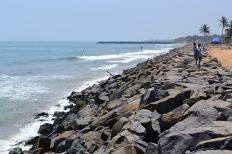walking to serenity beach. pondicherry, india. march 2016.