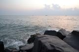 sunrise over the rocks. pondicherry, india. march 2016.