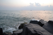sunrise over the rocks. pondicherry, india. march 2016.