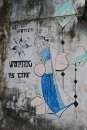 great street art spotted during a walk. pondicherry, india. march 2016.