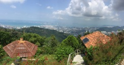 view of george town from the top of penang hill. penang, malaysia. april 2016.