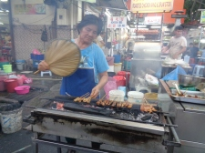 getting that satay ready. george town, malaysia. april 2016.