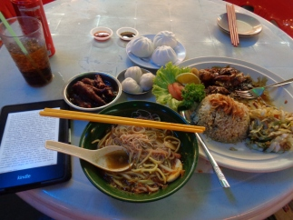 stuffing my face at the red garden food court. george town, malaysia. april 2016.