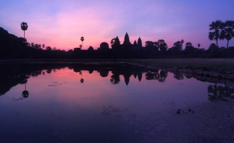 sunrise over angkor wat. siem reap, cambodia. may 2016.