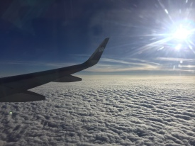 flying in over the cotton candy clouds. somewhere in india. may 2016.