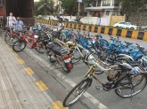 all the bicycles lined up at the end of the tour. bombay, india. may 2016.