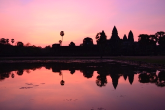 sunrise over angkor. siem reap, cambodia. may 2016.
