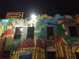 overton square mural at bari. memphis, tennessee. august 2016.