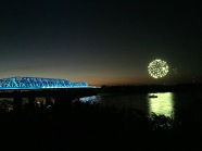 fireworks and a gorgeously lit up bridge. memphis, tennessee. october 2016.