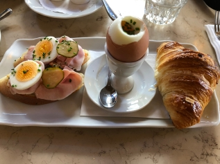 cafe savoy breakfast. prague, czech republic. november 2018.
