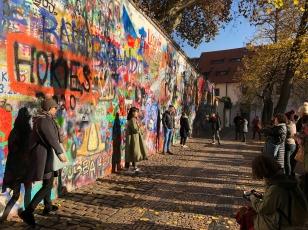 spot the tourists. prague, czech republic. november 2018.