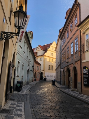 quiet prague streets. prague, czech republic. november 2018.