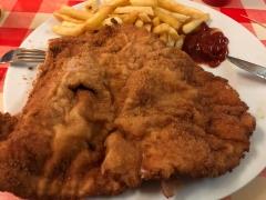 delicious schnitzel. vienna, austria. november 2018.