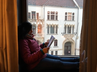 enjoying my little reading nook. budapest, hungary. november 2018.
