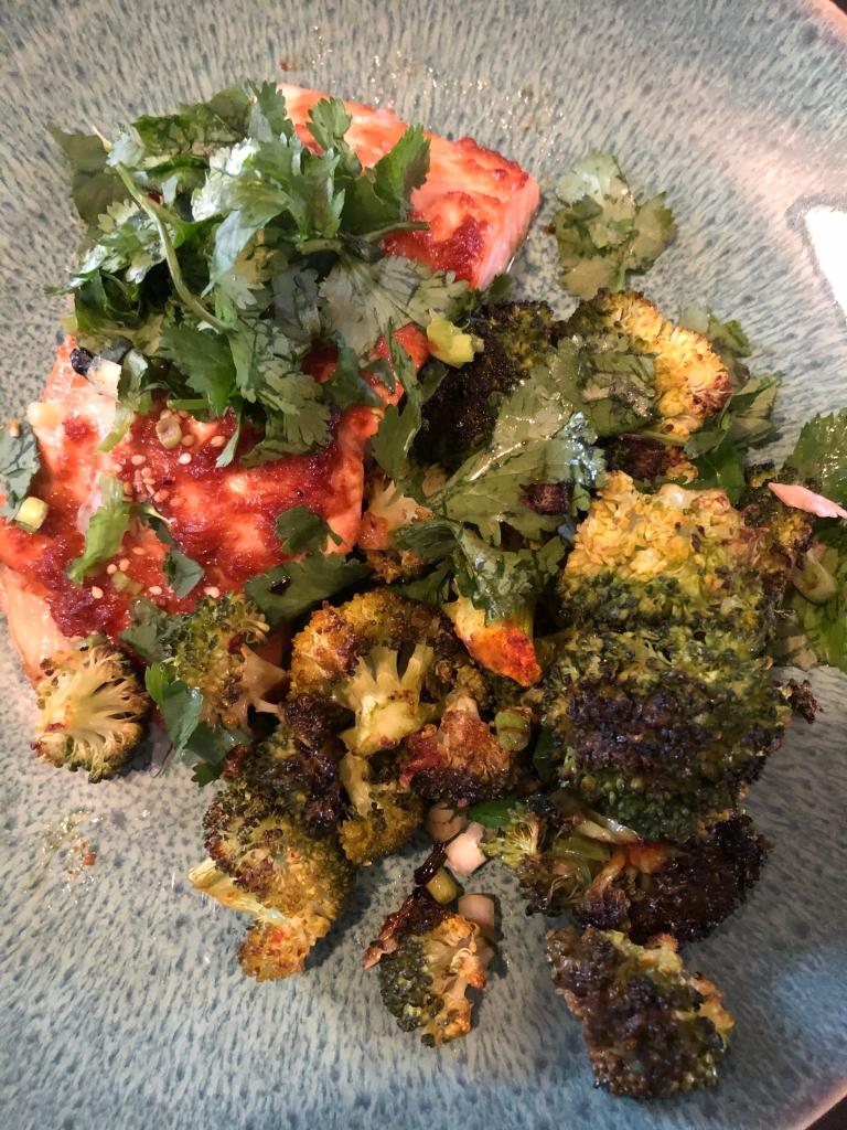 salmon and broccoli dinner.