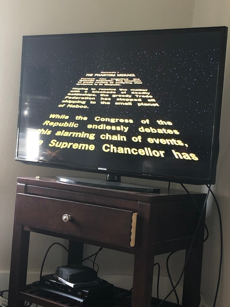 tv screen with text scrolling.