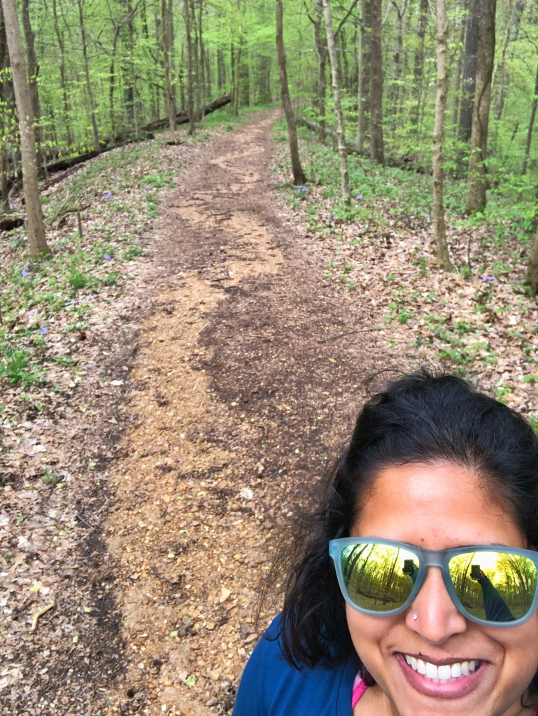 selfie of author on a hiking trail.